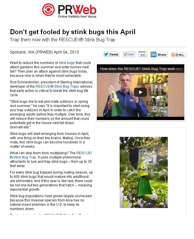 PR Web Don't Get Fooled by Stink Bugs, Stink Bug, Stink Bug Trap, Rescue, product launch, garden media group